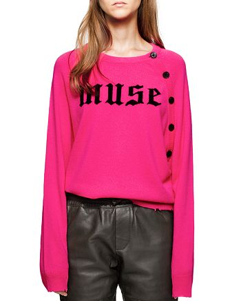 "Zadig & Voltaire - Justy ""Muse"" Graphic Distressed Cashmere Sweater"