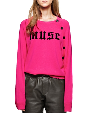 Zadig & Voltaire Justy Muse Graphic Distressed Cashmere Sweater