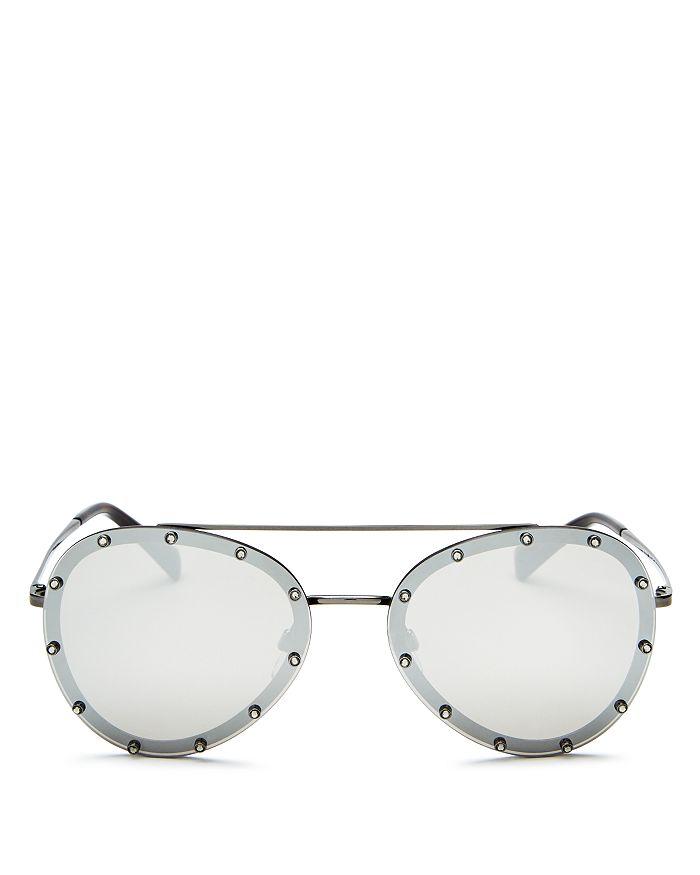Valentino Sunglasses WOMEN'S MIRRORED EMBELLISHED AVIATOR SUNGLASSES, 58MM