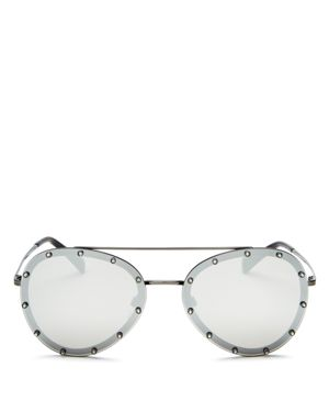 Valentino Mirrored Embellished Aviator Sunglasses, 58mm