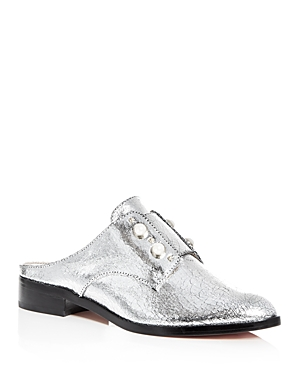 Schutz Women's Jaine Embellished Leather Loafer Mules