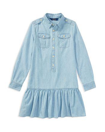316aea1d9d5 Ralph Lauren Girls  Drop-Waist Chambray Shirt Dress - Big Kid ...