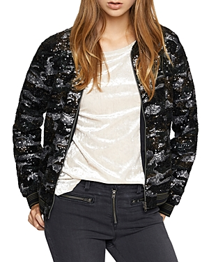 Sanctuary Sequined Camo Bomber Jacket