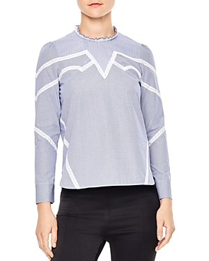 Sandro Suzan Lace-Inset Cotton Top