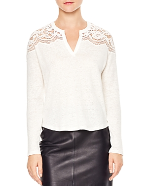 Sandro Flo Lace-Yoke Top