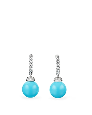 David Yurman Solari Drop Earrings with Diamonds & Reconstituted Turquoise