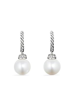 David Yurman Solari Drop Earrings with Diamonds & Cultured Freshwater Pearls