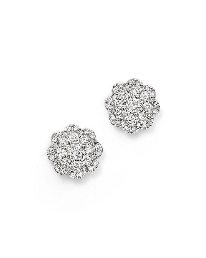 Bloomingdale's - Diamond Cluster Floral Stud Earrings in 14K White Gold, 1.10 ct. t.w. - 100% Exclusive