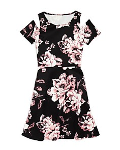 AQUA Girls' Floral Cold-Shoulder Dress, Big Kid - 100% Exclusive - Bloomingdale's_0