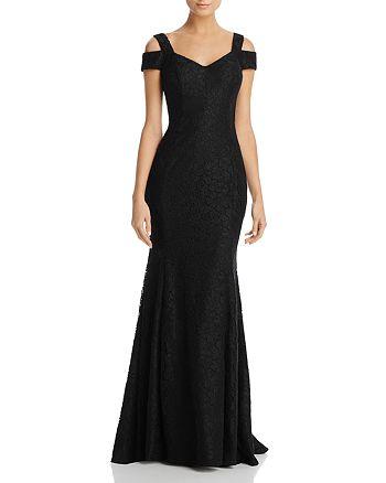 AQUA - Cold-Shoulder Lace Gown - 100% Exclusive