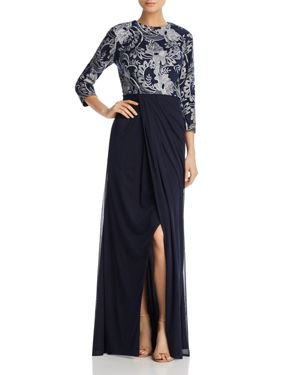Js Collections Embroidered-Bodice Gown