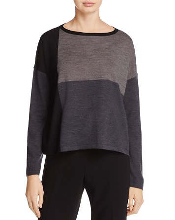 $Eileen Fisher Color-Block Collection Merino Wool Sweater - Bloomingdale's