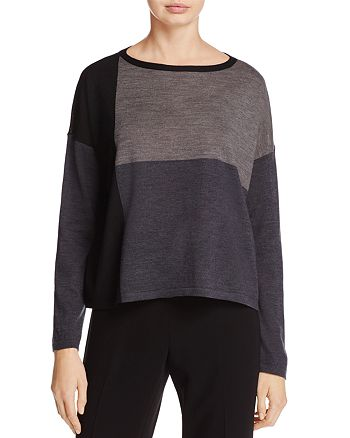 Eileen Fisher - Color-Block Collection Merino Wool Sweater