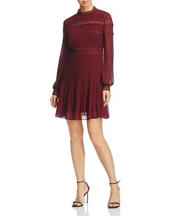 AQUA - Pleated Lace-Trim Dress - 100% Exclusive
