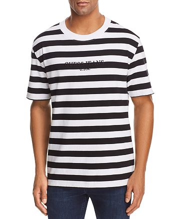 1e21f83f19 GUESS Logo Striped Crewneck Short Sleeve Tee - 100% Exclusive ...