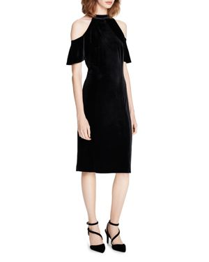 Calvin Klein Cold-Shoulder Velvet Sheath Dress