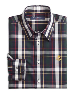 Brooks Brothers Boys' Bold Plaid Sport Shirt - Big Kid