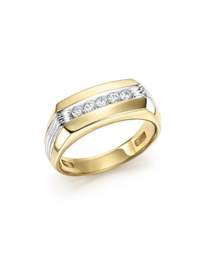 Bloomingdale's - Men's Diamond Five-Stone Ring in 14K Yellow & White Gold, 0.25 ct. t.w.