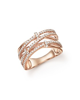 Bloomingdale's - Diamond Multi-Row Crossover Ring in 14K Rose Gold, 0.50 ct. t.w. - 100% Exclusive