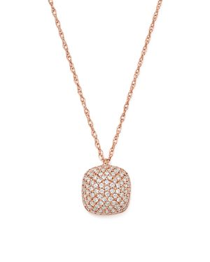 Bloomingdale's Diamond Pave Cushion Pendant Necklace in 14K Rose Gold, 0.33 ct. t.w. - 100% Exclusiv