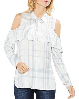 Vince Camuto Cold-Shoulder Plaid Shirt