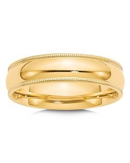 Bloomingdale's - Men's 6mm Milgrain Comfort Fit Wedding Band in 14K Yellow Gold - 100% Exclusive