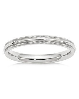Bloomingdale's - Men's 3mm Milgrain Comfort Fit Band in 14K White Gold - 100% Exclusive