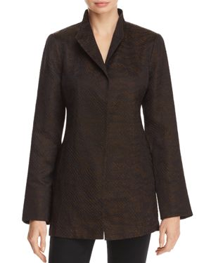 Eileen Fisher Petites Textured Stand Collar Jacket
