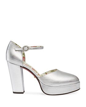 Gucci - Women's Leather Ankle Strap Platform Pumps