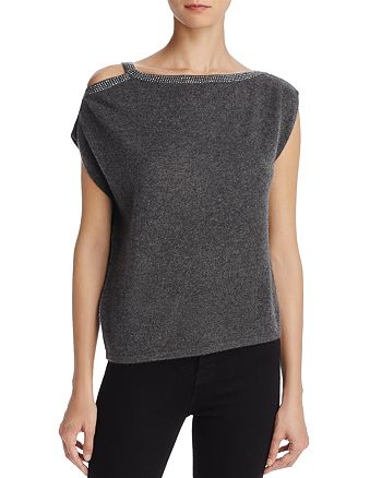 Minnie Rose - Studded Cold-Shoulder Cashmere Sweater