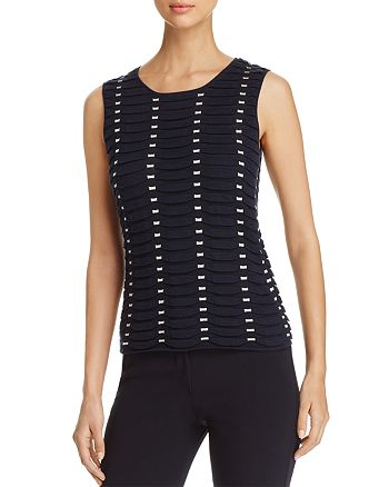 Armani - Textured Contrast-Detail Pleated Top