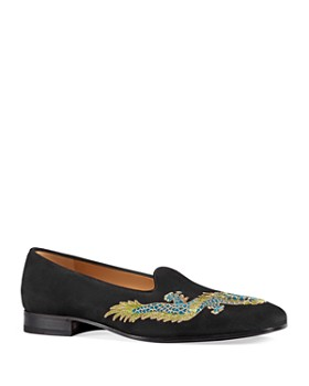 Gucci - Men's Suede Dragon Embroidered Loafers