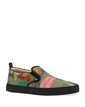 Gucci - Men's Snake Print Slip-On Sneakers