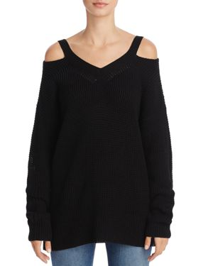 Aqua Cold-Shoulder Waffle-Knit Sweater - 100% Exclusive