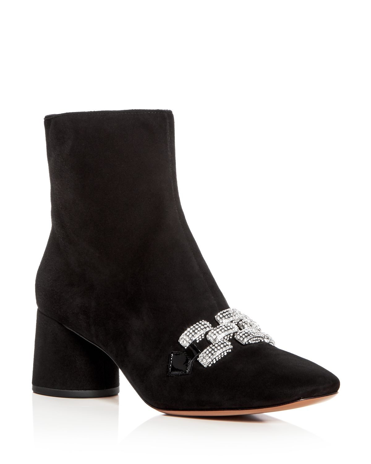 Women's Embellished Chain Suede Block Heel Booties by Marc Jacobs