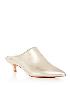 Pour La Victoire - Women's Korrine Leather Kitten Heel Pointed Toe Mules