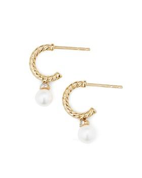 David Yurman - Solari Hoop Earrings with Cultured Akoya Pearl & Diamonds in 18K Gold