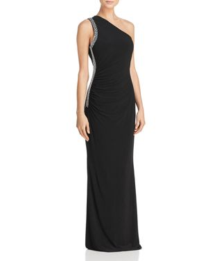 Laundry by Shelli Segal Embellished One-Shoulder Gown