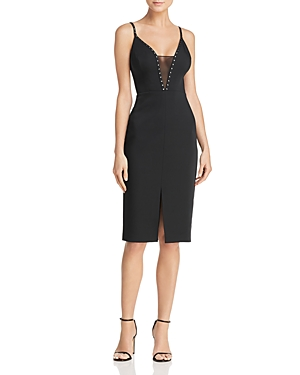 Bcbgmaxazria Embellished Mesh-Inset Dress
