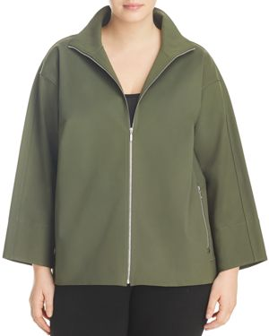 LAFAYETTE 148 NEW YORK PLUS Ford Zip-Front Collared Jacket, Plus Size in Green