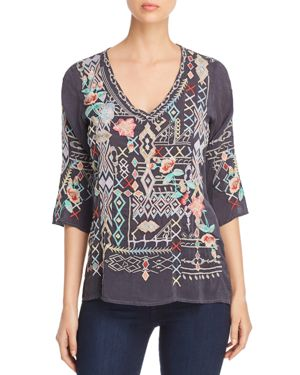 Johnny Was Collection Seeroon Embroidered Top