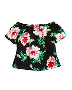 AQUA Girls' Floral Off-the-Shoulder Top, Big Kid - 100% Exclusive - Bloomingdale's_0