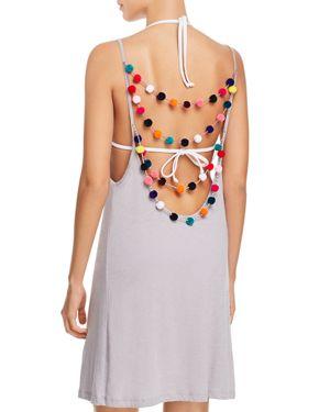 Pitusa Pom-Pom Necklace Dress Swim Cover-Up