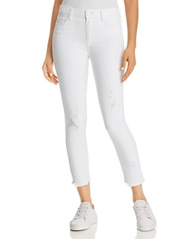 PAIGE - Hoxton Ankle Skinny Jeans in Crisp White Destructed