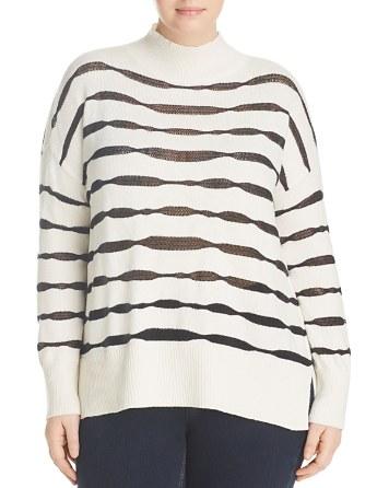 $VINCE CAMUTO Plus Sheer-Stripe Mock Neck Sweater - Bloomingdale's