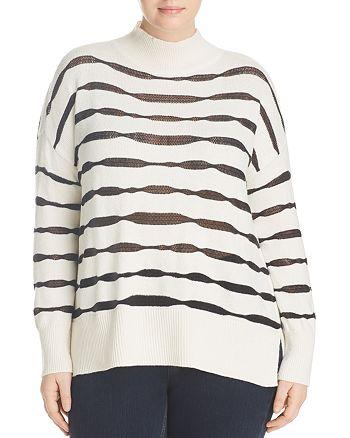 VINCE CAMUTO Plus - Sheer-Stripe Mock Neck Sweater