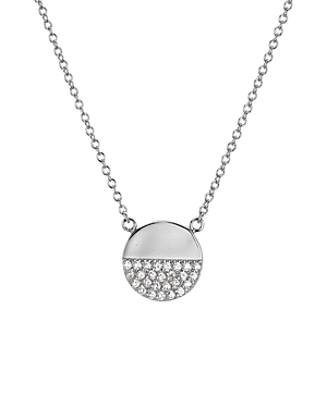Sterling Silver Pave Circle Pendant Necklace