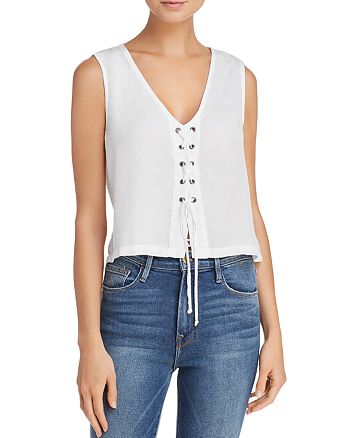 Bella Dahl - Grommeted Lace-Up Front Top