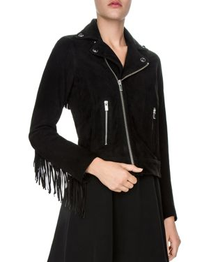 The Kooples Fringed Leather Moto Jacket