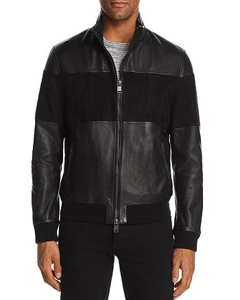 BOSS - Miloy Leather and Suede Moto Jacket